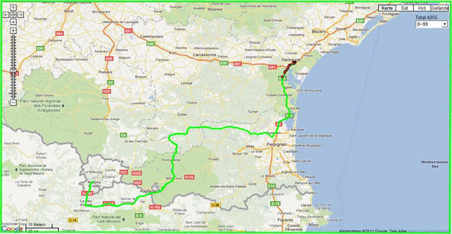Route Narbonne-Andorra