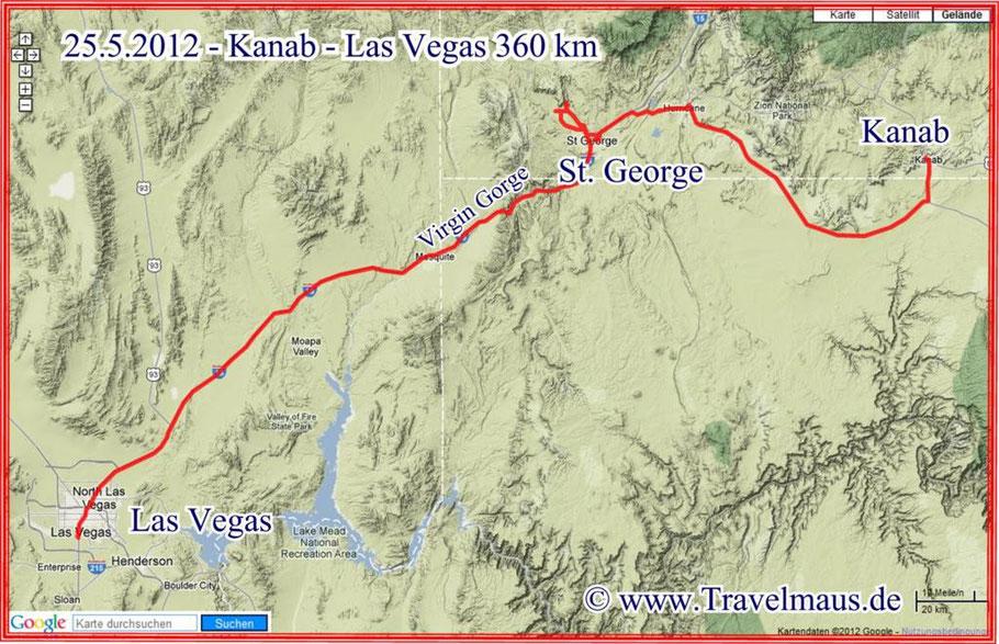 Kanab-Las Vegas 360 km