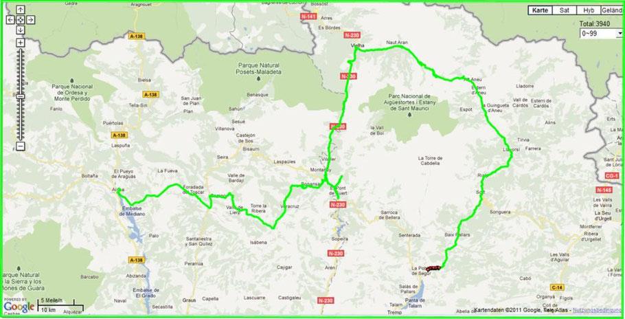Strecke La Pobla-Ainsa 9.9.11
