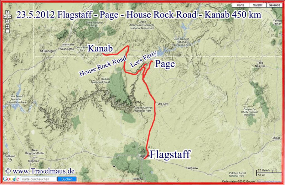 Flagstaff - Page - Lees Ferry - House Rock Road - Kanab 450 km