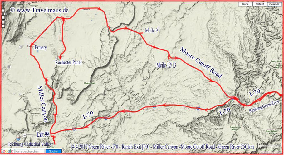 Green River - I 70 - Miller Canyon - Moore Cutoff Road - Green River 250 km