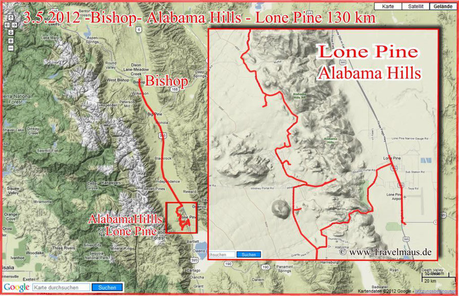 Bishop - Alabama Hills - Lone Pine 130 km