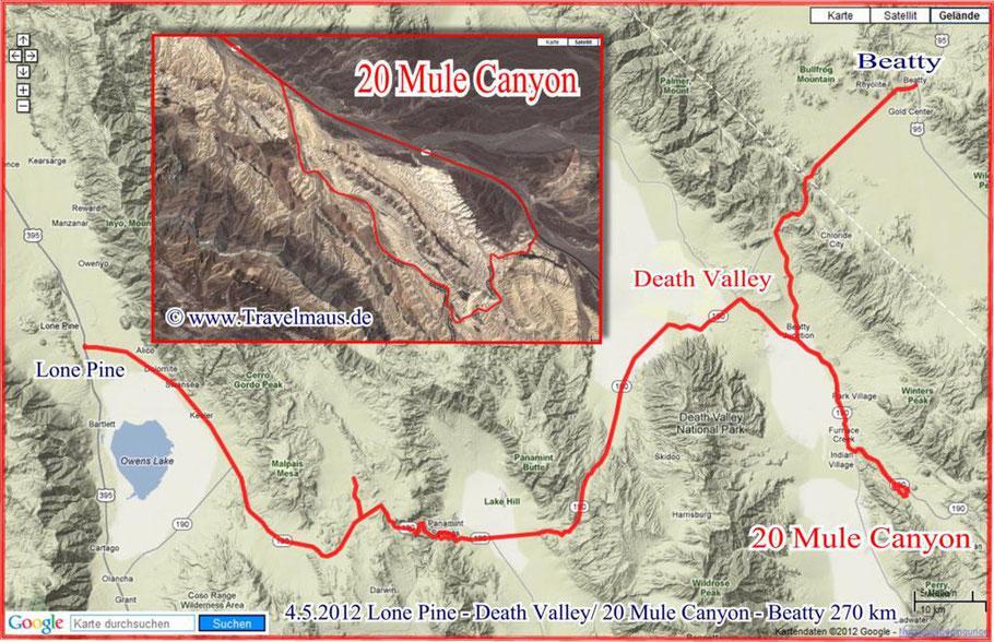 Lone Pine - Death Valley/20 Mule Team Road - Beatty 270 km