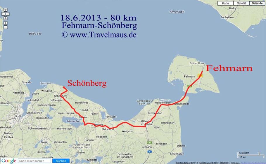 Fehmarn-Schönberg/Kalifornien 80 km