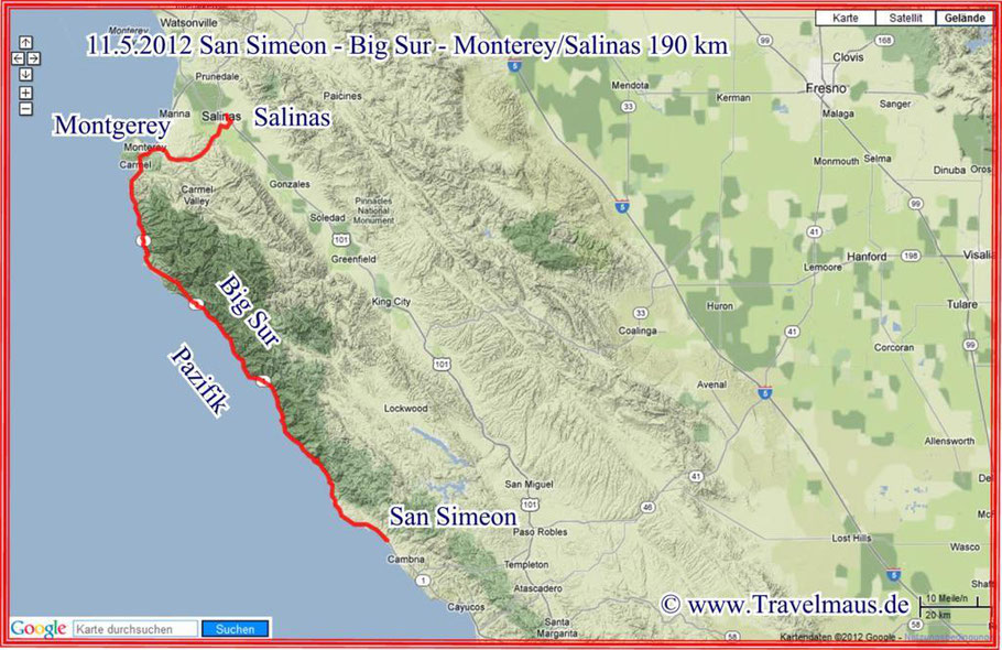 San Simeon - Bis Sur (Sea Lions!!!) - Monterey/Salinas 190 km