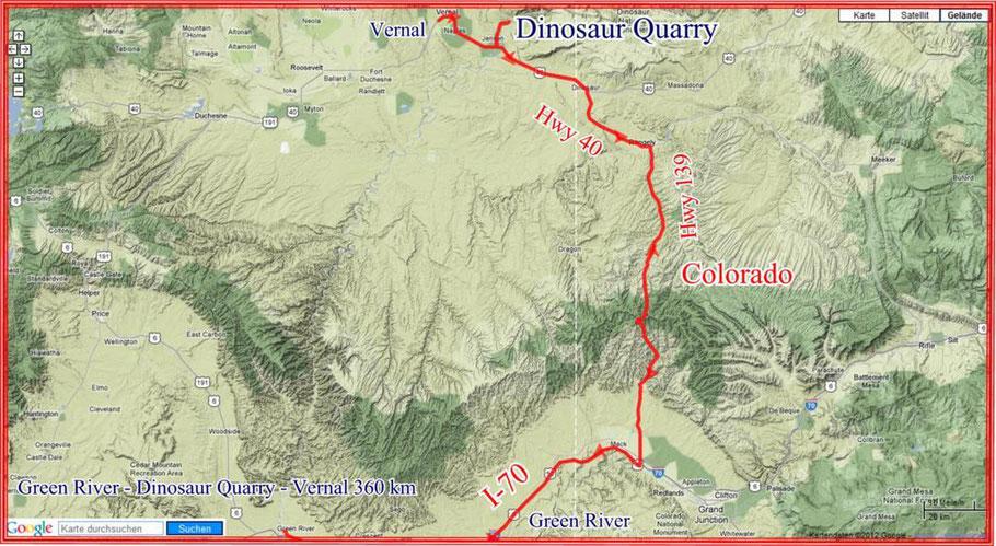 Green River - Dinosaur Quarry - Vernal 360 km