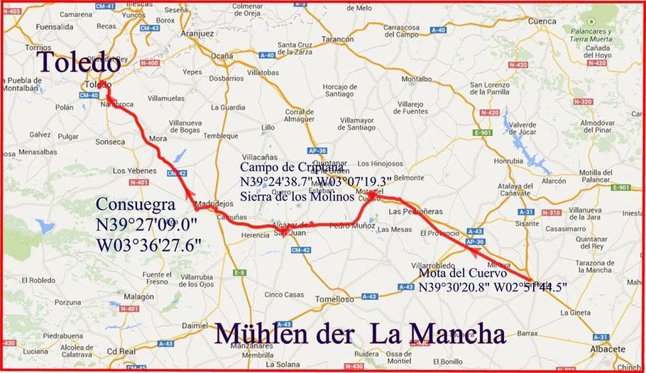 Mühlen der La Mancha zwischen Mota und Toledo