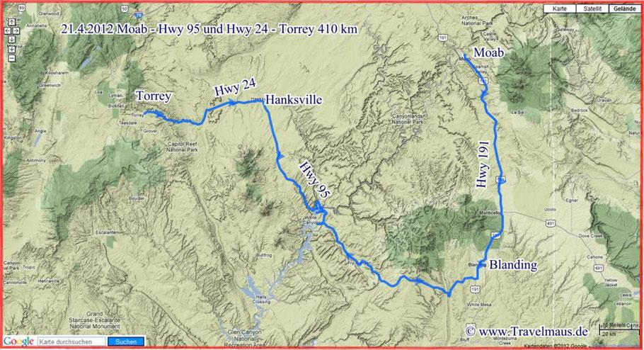 Moab - Hwy 95 und Hwy 24 - Torry 410 km