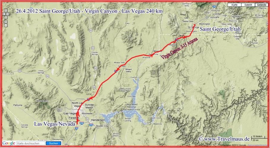 St George/Utah - Virgin Canyon/Arizona - Las Vegas/Nevada 240 km