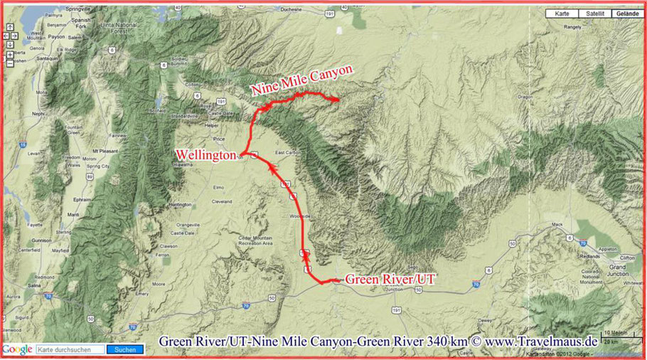 Green River - Nine Mile Canyon - Green River 340 km