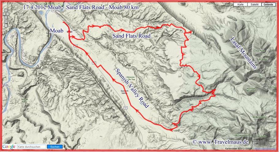 Moab - Sand Flats Road - Moab 80 km