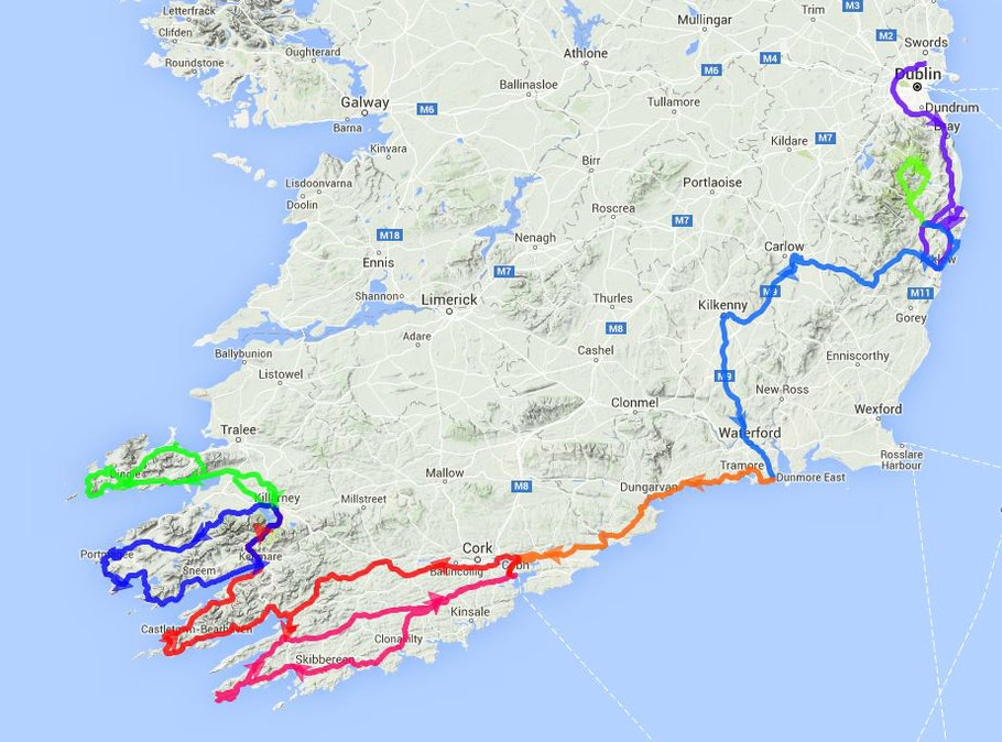 1. Woche: Tagestouren mehr als 1500 km insgesamt