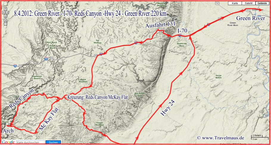 Green River - Reds Canyon -Green River 220 km