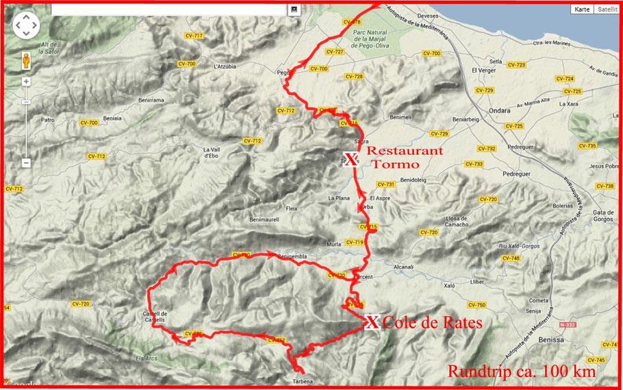 Rundtrip ca. 100 km - Coll de Rates