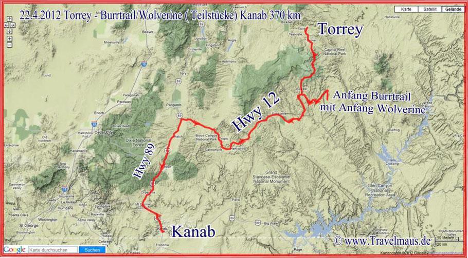Torrey - Burrtrail/Wolverine (Teilstück) -Kanab 370 km