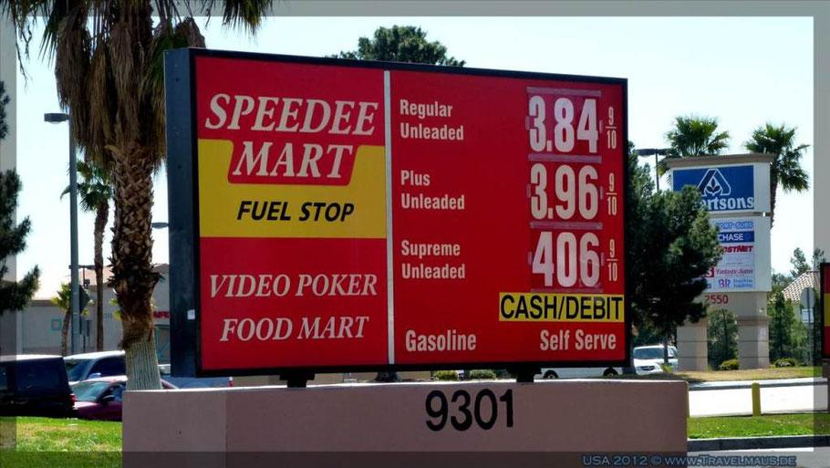 Benzinpreise je Gallone in Las Vegas am 14.3.2012 in $