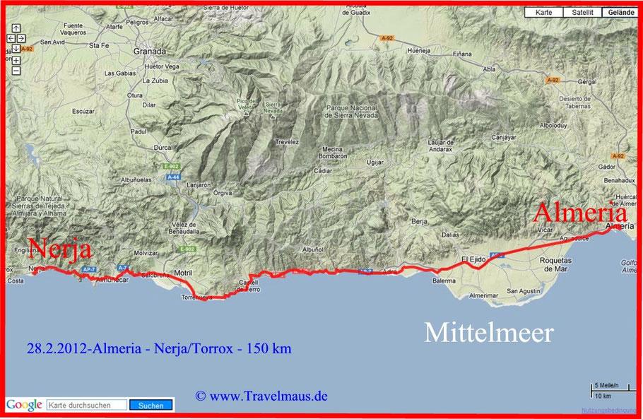 Almeria - Nerja- ca. 150 km