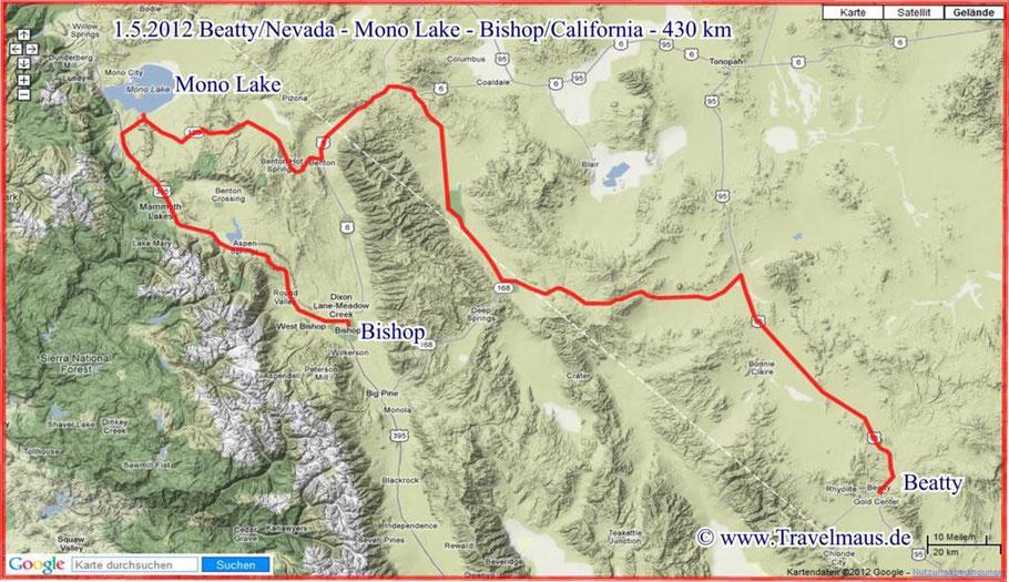 Beatty - Mono Lake - Bishop 430 km