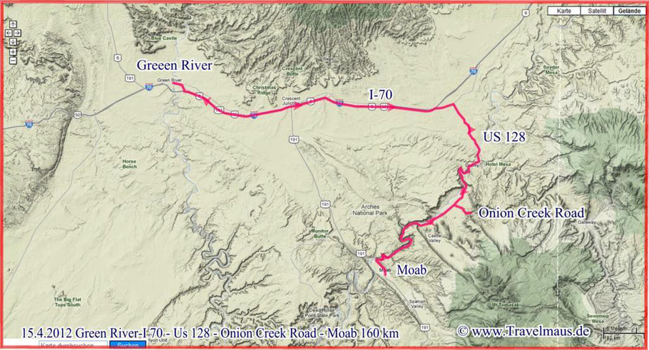 Green River -Colorado Riverway - Onion Creek - Moab 160 km