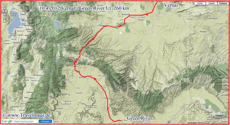 Von Vernal bis Green River >260 km