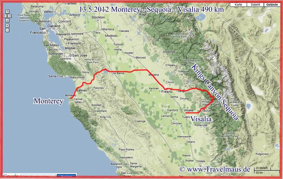 Monterey - Sequoia - Visalia 490 km