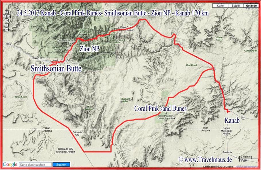 Kanab - Coral Pink Sanddunes - Smithsonian Butte - Zion NP - Kanab - 170 km