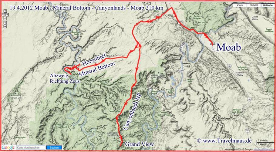 Moab - Mineral Bottoim -Canyonlands NP - Moab 210 km