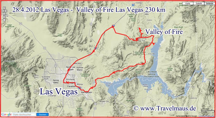 Las Vegas - Valley of Fire - Las Vegas 230 km