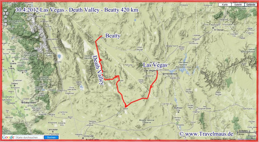Las Vegas - Death Valley - Beatty 420 km