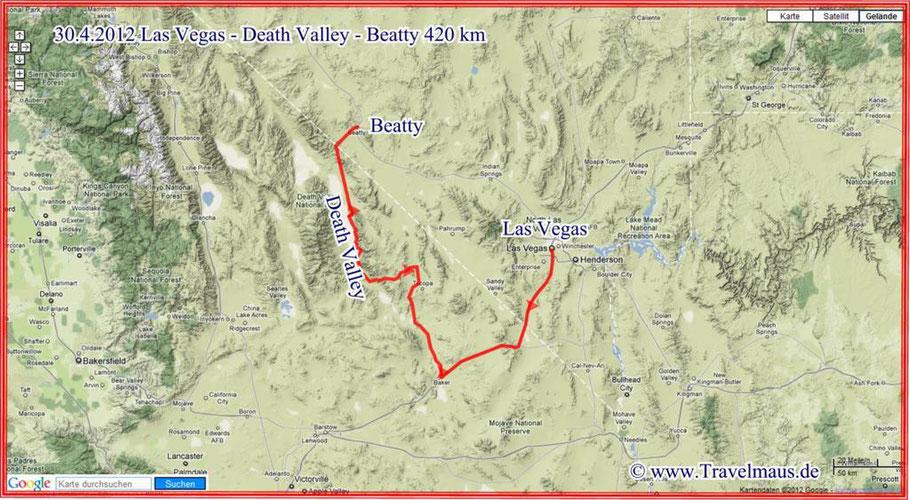 Las Vegas - Death Valley - Beatty 420 km
