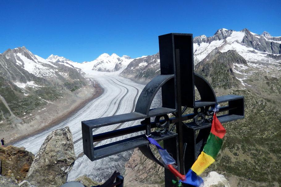 Blick vom Gipfel des Eggishorn auf den Großen Aletschgletscher - 2927 M