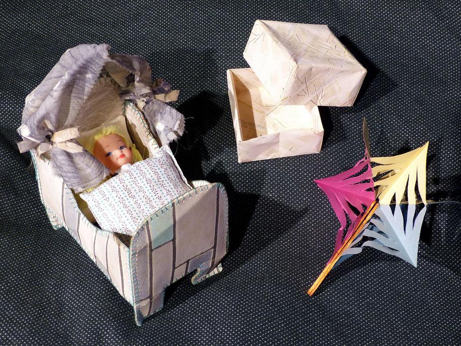 Puppenbettchen - Tapetenschächtelchen - Scherenschnittstern