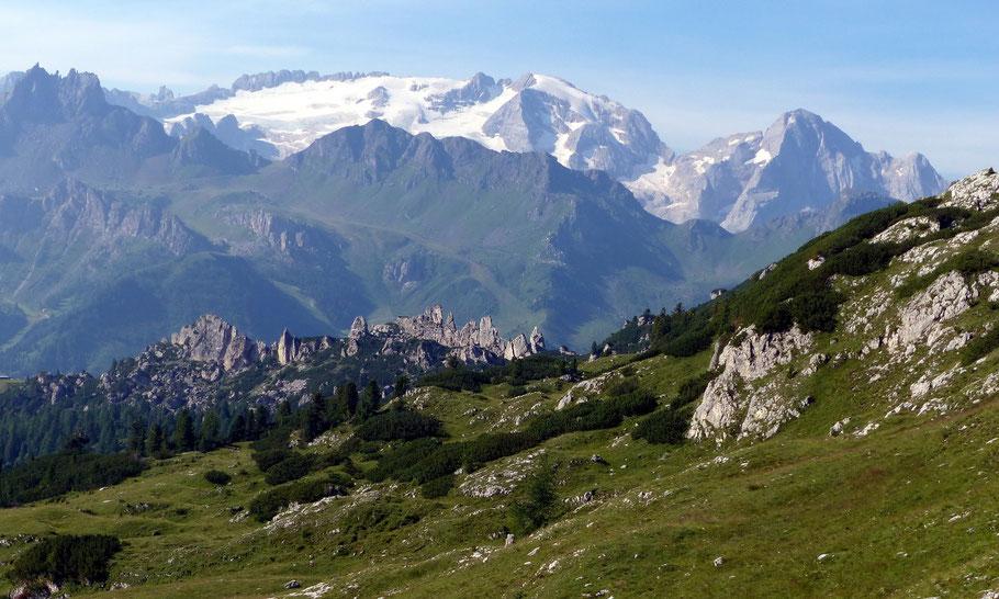 Blick von Crep de Munt, 2152 M, auf die Marmolada-Nordseite, 3343 M, mit Forcella della Marmolada, 2896 M, und Gran Vernel, 3210 M