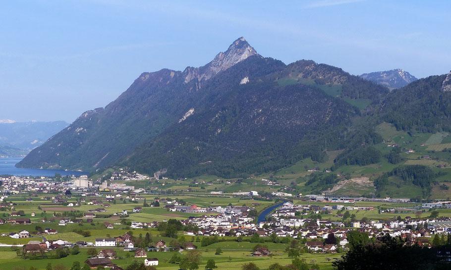 Blick von Schwyz auf die Rigi Hochflue - 1698 M