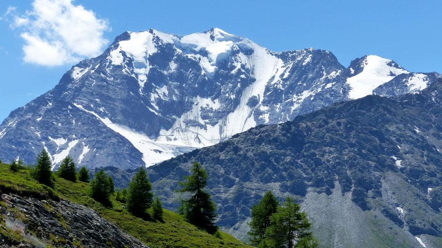 Blick vom Simplonpass - Weissmies-Südgrat mit Vorgipfel - Weissmies 4017 M - Lagginhorn 4010 M - Fletschhorn 3993 M