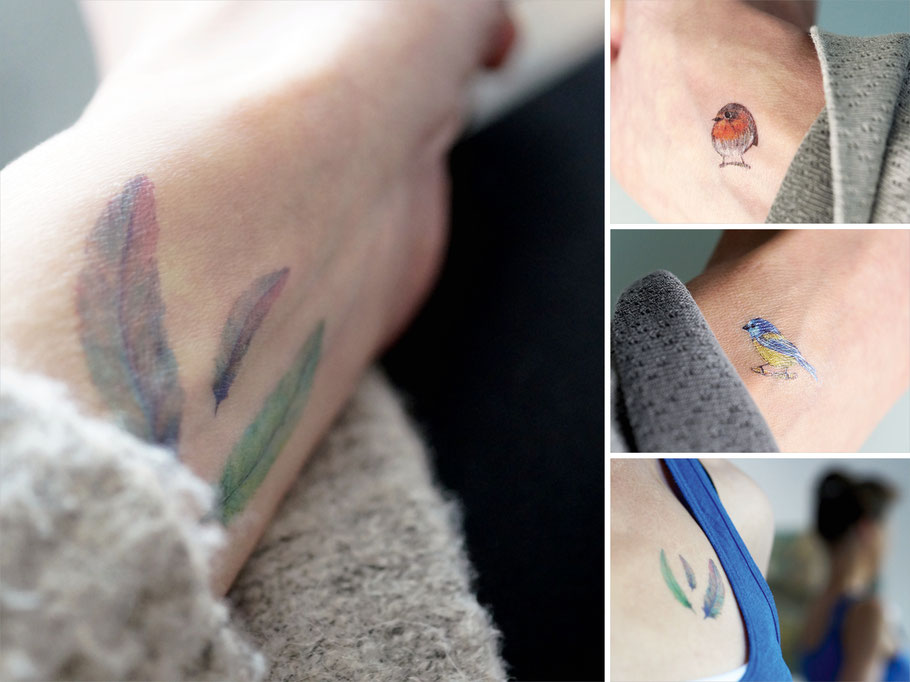 Temporäre Tattoos mit Federn und Vögeln