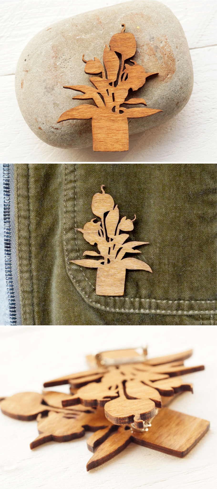 Brosche mit Flamingoblume | Holzschmuck :: Brooch with anthurium motif| wooden jewellery