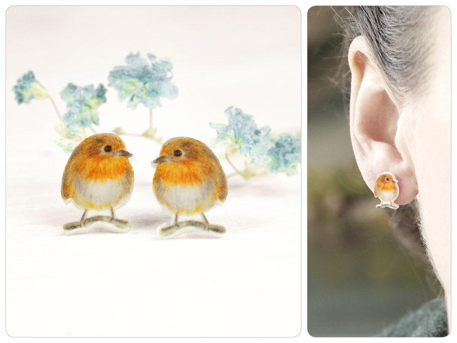 Mini-Ohrringe mit Rotkehlchen • Zeichnung • 925er Silber