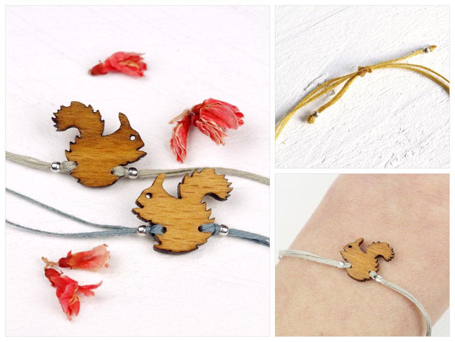 Armband aus Baumwollgarn mit Silberelementen und Eichhörnchen aus Holz (Lasercut)