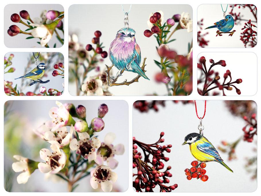 VogelSchmuckFäden mit Blaumeise, Kohlmeise, Gabelracke oder blauem Sittich