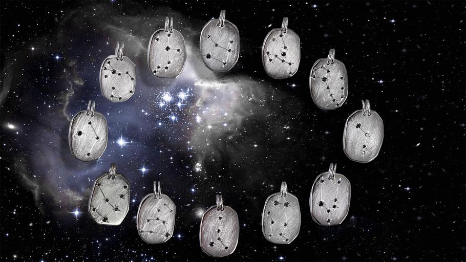 Alle Sternzeichen in Silber schwarze Diamanten