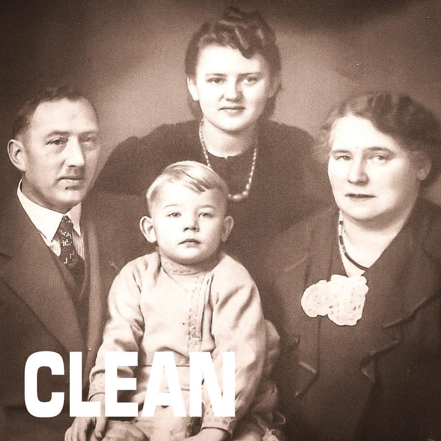 links Georg senior, oben Tante Erna, unten Georg junior und rechts Oma Wilhelmine