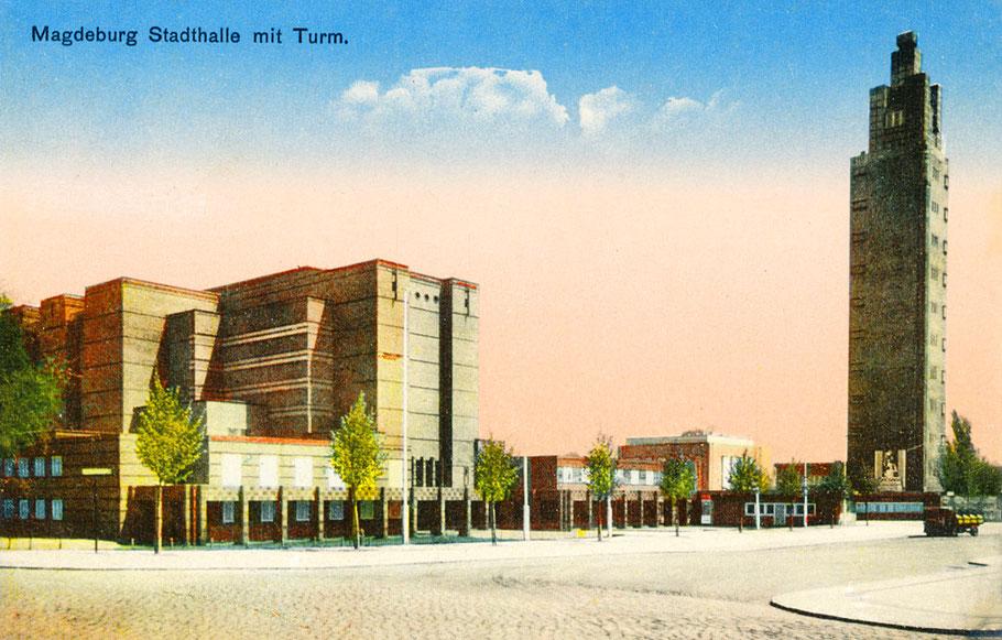 Portal der Stadthalle und der Albin-Müller-Aussichtsturm als Color-Version