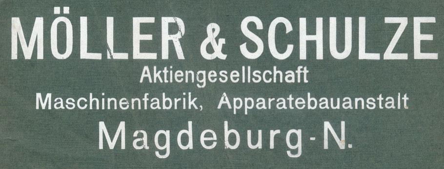 Aktenbeschriftung um 1925 - Möller & Schulze Magdeburg Neustadt