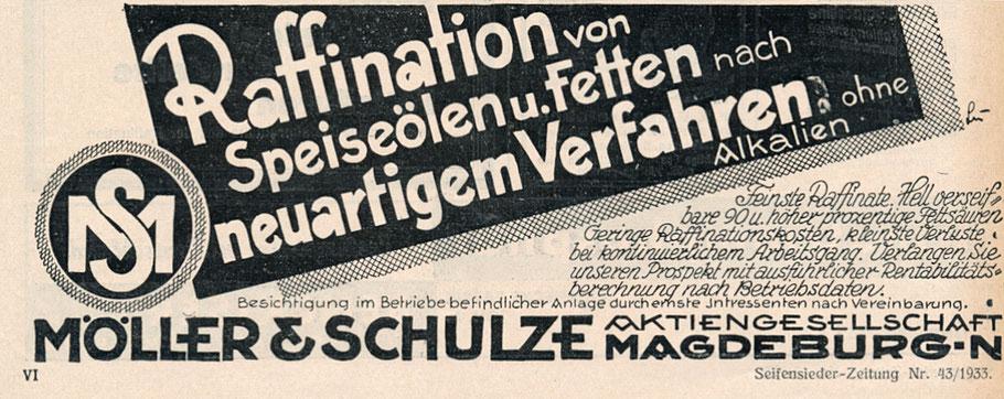 Werbung für die Raffination von Fetten von 1933