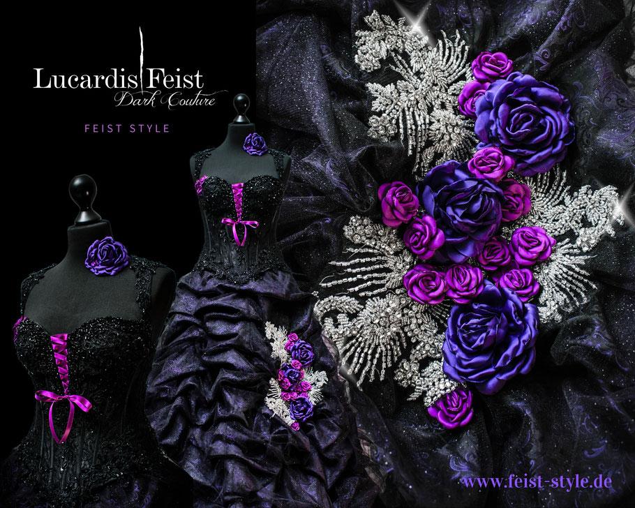 Victorianisches Brautkleid, Steampunk Brautkleid, Schwarzes Brautkleid, Gothic Braut