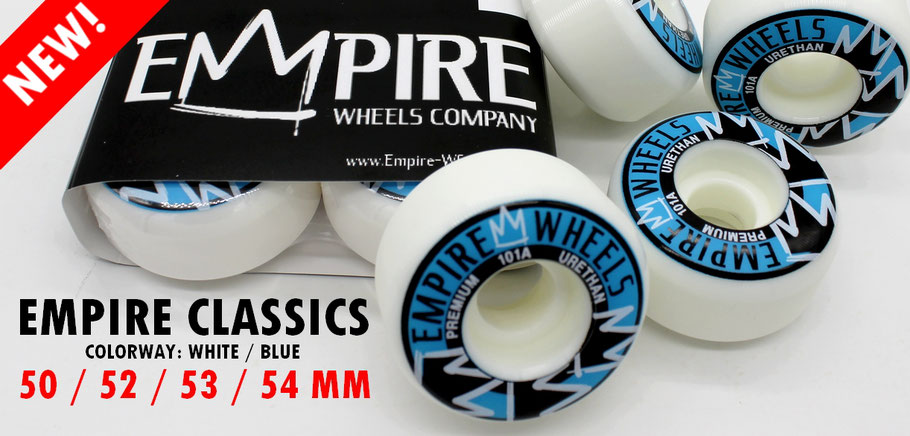 Empire Wheels NEW Classics White/Blue - Empire Premium Skateboard Wheels available at VMS Distribution Europe!