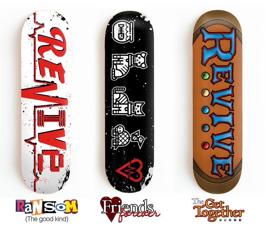 Revive Skateboards summer 2021 (former spring 2021) skateboard decks, ransom lifeline, friends forever, the get together deck