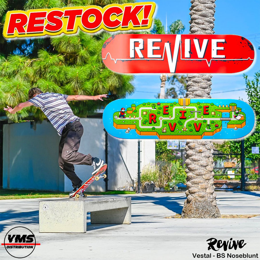 Revive Skateboards Restock! VMS Distribution Europe - Revive Skateboards Red Lifeline, Ambs World Decks back in stock! Fast Shipping through the whole EU / Europe.
