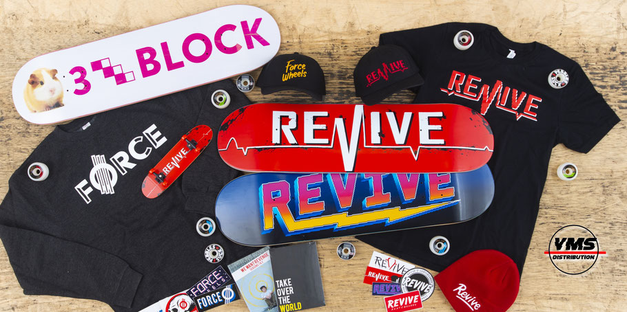 BECOME A DEALER! VMS is the official european Distributor for Revive Skateboards, Force Wheels, Braille, 3Block, Shoe Goo, Silver Trucks, Vamos, DRIP, Empire & More. Fill out the dealer request and sell our gear at your shop / store.  All across Europe!